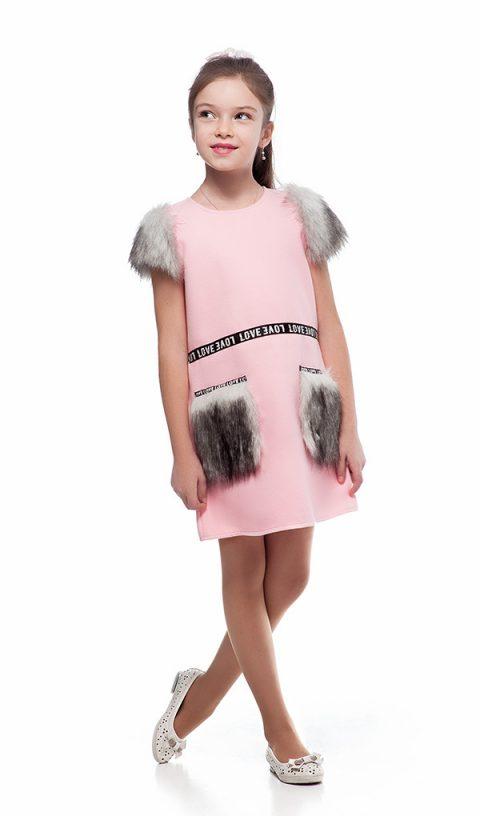 Платье с меховыми карманами 096-2