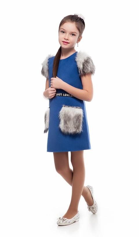 Платье с меховыми карманами 096-1