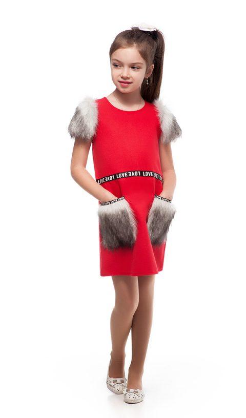 Платье с меховыми карманами 096-3